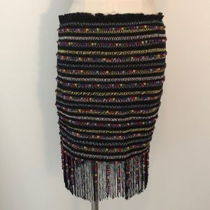 Colorful Mini Skirt with Beads, Fringe, Embroidery